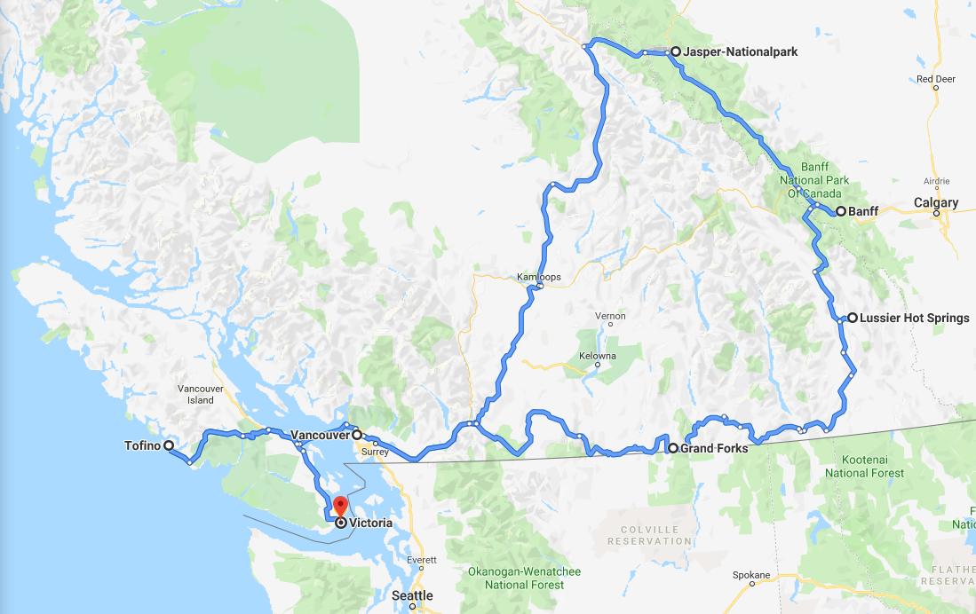 Rundreise durch den Westen Kanadas Routenvorschlag Roadtrip Route