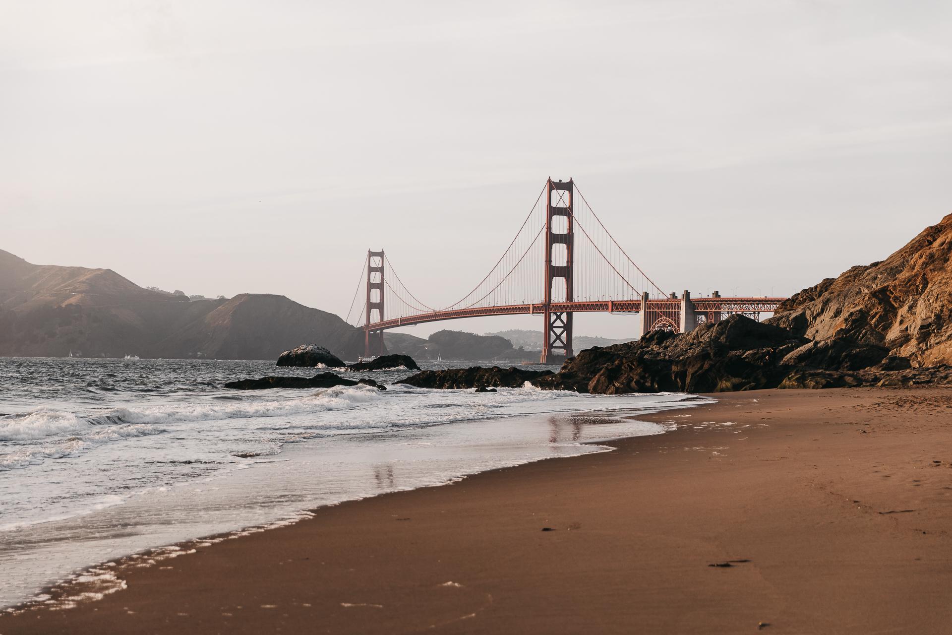 Golden Gate Bridge San Francisco Sonnenuntergang Baker Beach Strand