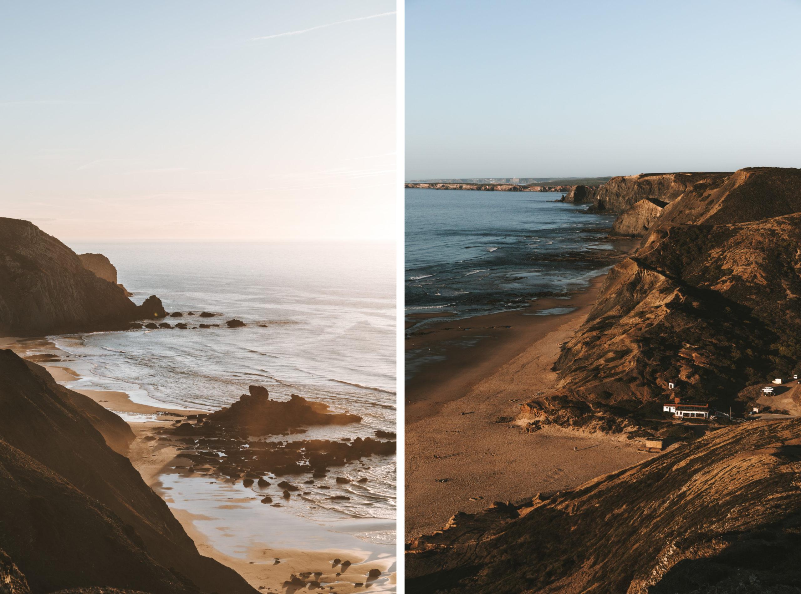 Praia do Castelejo und Praia do Cordoama Strände an Westküste von Portugal Surfstrände Surfen