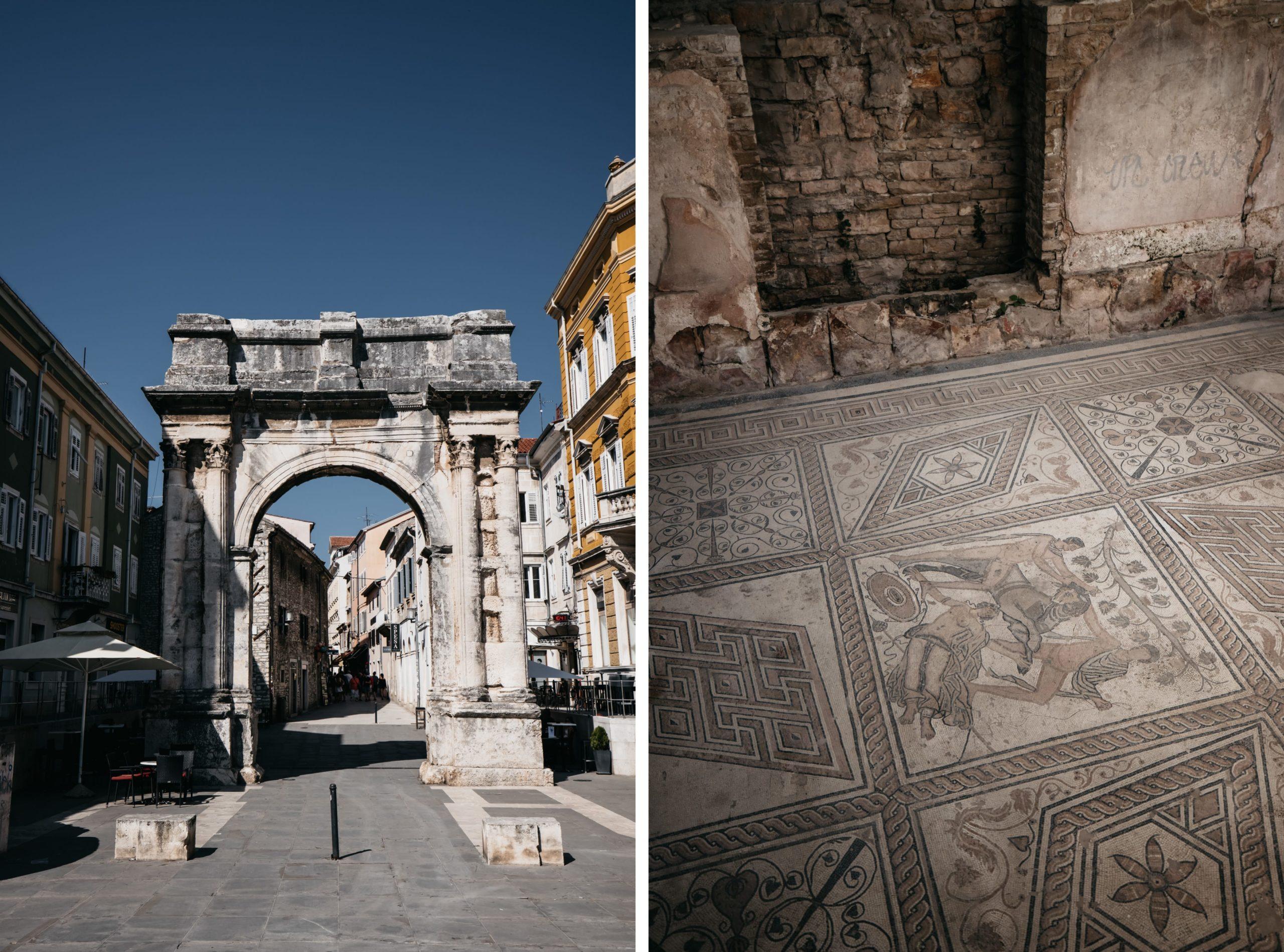 Das Goldene Tor / Sergierbogen und Römisches Mosaik in Pula Sehenswürdigkeiten